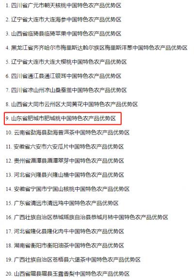 中国特色农产品优势区公示 山东4地上榜