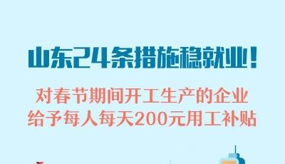 政能量丨山东24条措施稳就业!对春节期间开工生产的企业,给予每人每天200元用工补贴
