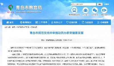 青岛市规范支持并举推动民办教育健康发展