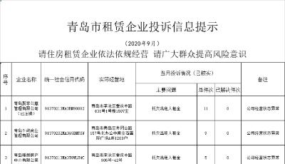青岛17家住房租赁企业被亮黄牌