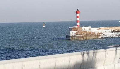 """海岸堤坝""""冰雕""""护栏成网红打卡地"""